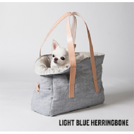 Viva Bag/ Linen- Light Blue Herringbone
