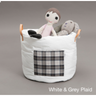 For Playing Toy Basket (White and Grey Plaid)