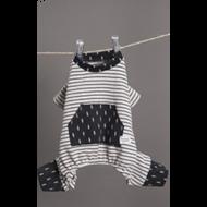Playful Romper Charcoal Stripes