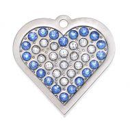 Crystal Blue Heart Tag