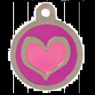 Pink Metallic Heart Tag