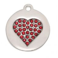 Silver Ruby Heart Tag